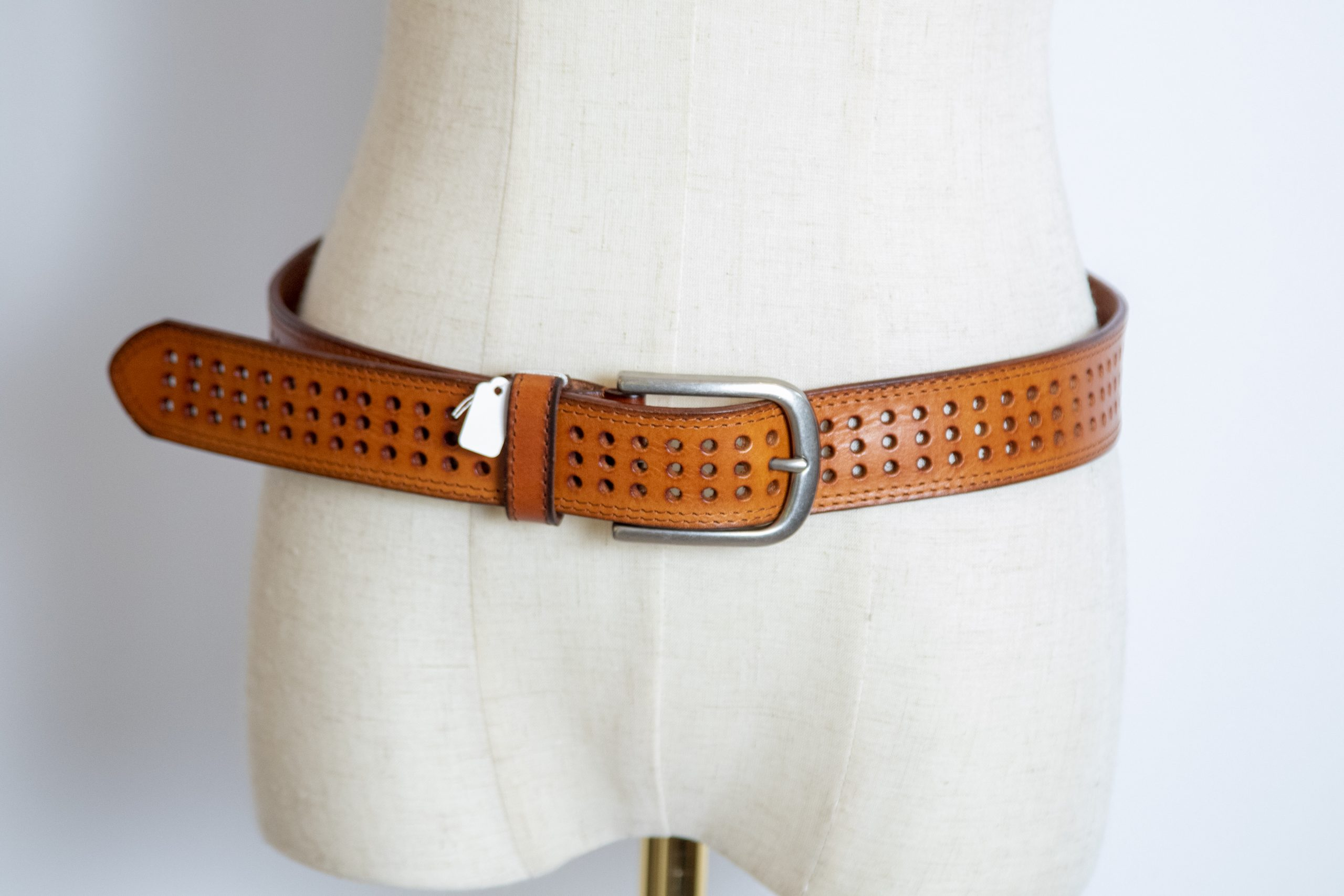 Punched Tan Leather Belt