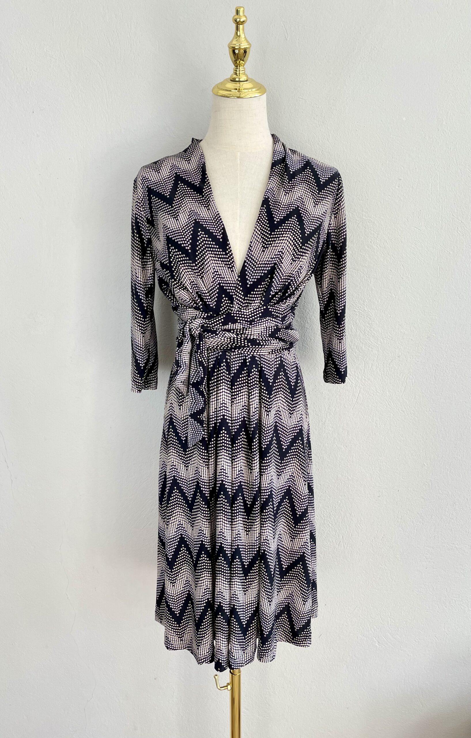 Black Zig Zag Wrap Around Tie Dress